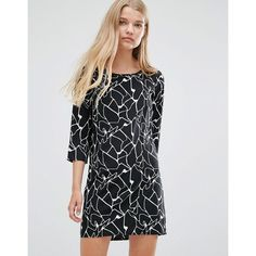 Vero Moda Abstract Print Shift Dress ($23) ❤ liked on Polyvore featuring dresses, black, vero moda dress, abstract dress, tall dresses, three quarter length sleeve dress and abstract print dress