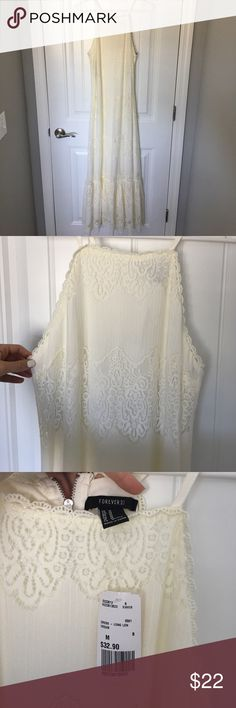 Forever 21 Candle Light maxi dress This bohemian, lacy maxi is a dream. Never worn + tagged attached   off white/cream with silver zipper detailing in the back Forever 21 Dresses Maxi