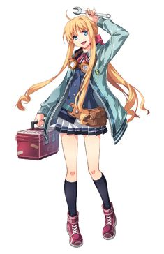 View an image titled 'Tita Russell Art' in our The Legend of Heroes: Trails of Cold Steel III art gallery featuring official character designs, concept art, and promo pictures. Game Character Design, Character Art, Trails Of Cold Steel, Art Eras, The Legend Of Heroes, Blonde Hair Girl, Anime Characters, Fashion Models, Concept Art