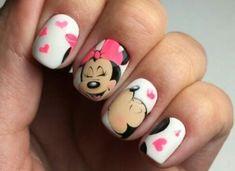 Imagine disney, nails, and love Minnie Mouse Nail Art, Mickey Nails, Pop Art Nails, Xmas Nail Art, Nail Art Dessin, Marvel Nails, Cartoon Nail Designs, Disney Acrylic Nails, Blood Nails