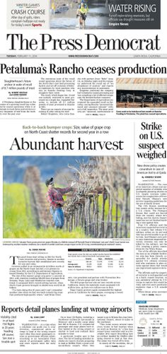 Press Democrat A-1 from Tuesday, Feb. 11, 2014.