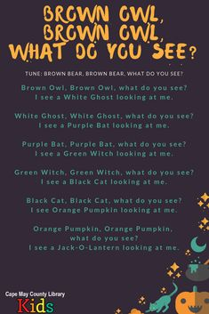 Such a fun storytime rhyme! The kids know the rhythm and are excited to sing along. Perfect for the Halloween season! - Kids education and learning acts Fall Preschool Activities, Preschool Music, Preschool Classroom, Halloween Activities, Preschool Learning, Halloween Kids, Toddler Activities, Teaching Kids, Halloween Season