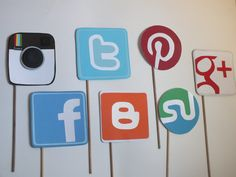 Photo booth props: SOCIAL MEDIA, Facebook ,instagram, twitter  blogger pinterest google stuble. $26.75, via Etsy.