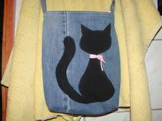 denim bag diy recycling cat