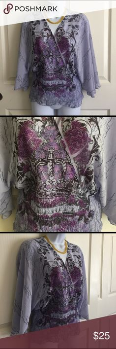 Design Works purple soft Blouse top ladies medium Design Works purple pretty blouse top. Soft and flowing. Floral design. Stretchable on the waistline. Women's Ladies fashion. Size medium. Check out my closet, we have a variety of Victoria Secret, Bath and Body Works, handbags purse Aerosoles, shoes fashion jewelry, women's clothing, Beauty products, home decors & more... Ships via USPS. Pet-Free & Smoke-Free Environment. Always a FREE GIFT with every purchase!!! Thank you. design works Tops…