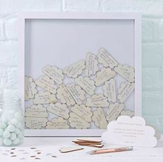 Ginger Ray Cloud Drop Top Frame Guest Book Hello World - Baby Shower Party Decorations Baby Shower Frame, Bebe Shower, Baby Shower Fun, Baby Shower Gender Reveal, Baby Shower Parties, Baby Shower Themes, Baby Boy Shower, Baby Shower Stuff, Cloud Baby Shower Theme