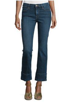 FRAME DENIM Le High Straight Ankle Crop Slim Trouser Jeans Pants Dark Blue $269 #FrameDenim #CroppedTrousersStraightLeg