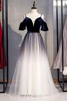 Deep Blue Velvet Spaghetti Straps A-Line Prom Dresses Formal Women Dress With Sleeves Plus Size Prom Dresses, A Line Prom Dresses, Formal Dresses For Women, Wedding Dresses, Affordable Evening Dresses, Formal Evening Dresses, Evening Gowns, Beautiful Dresses, Dresses With Sleeves