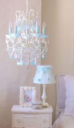 This aqua chandelier is stunning!