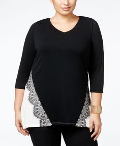 Colorblocking and beautiful lace appliques give this plus size tunic top from Belldini elegant style for the office or weekend. | Polyester/viscose/spandex; trim: polyester | Hand wash | Imported | Op