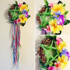 Welcome Beltane and the flowering of life with this beautiful, festive handmade pentacle wreath! A Blackthorn and Rose exclusive original design by artist and Witch, Melissa Dodakian Wiccan Sabbats, Wicca Witchcraft, Beltaine, Walpurgis Night, May Days, Book Of Shadows, Diy Crafts, Wreaths, Crafty