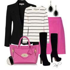 """black and pink for work"" by pamlcs on Polyvore"