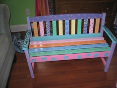 fun to sit on Funky Furniture, Painted Furniture, Outdoor Furniture, Outdoor Decor, Painted Benches, Painted Stools, Furniture Factory, Painting, Hot