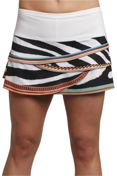Women's Tennis Clothes l Lucky In Love Printed Scallop Skort : CB51