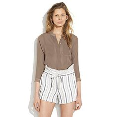 Fun high waisted shorts and sheer Summerhouse blouse by Madewell