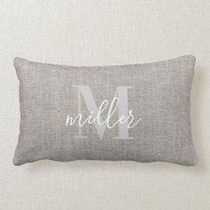 Rustic Monogrammed Family Name Lumbar Pillow
