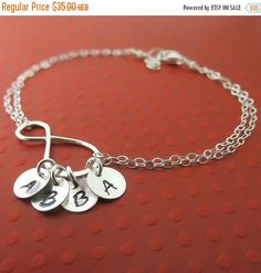LABOR DAY SALE Infinity Bracelet, Personalized Bracelet  Sterling Silver Handmade Infinity Jewelry,Up to Four Initials, Family Bracelet, Gra by lizix26 on Etsy https://www.etsy.com/listing/168477522/labor-day-sale-infinity-bracelet