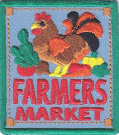 """FARMERS MARKET"""" IRON ON PATCH/ Iron On Embroidered Applique /Fruit, Vegetables…"""