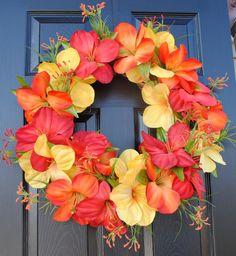 FREE SHIPPING-Summer Wreath, Spring Wreath, Polynesian Wreath for front door