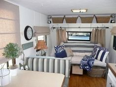 "Travel+Trailer+Makeover, Camper Trailer Makeover. AKA ""The Beach House""   beige and navy, love the baskets"