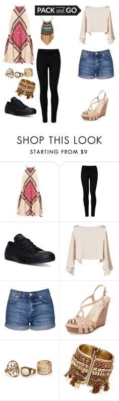 """""""Pack and go"""" by latony ❤ liked on Polyvore featuring MINKPINK, Wolford, Converse, Topshop, Seychelles and Leslie Danzis"""