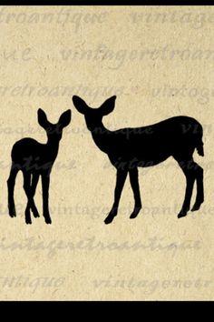 Printable Graphic Deer Silhouettes Image Download Animal Artwork Digital Vintage…