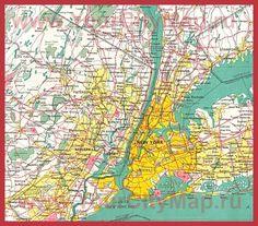 Карта Нью-Йорка с окрестностями
