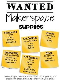 Supplies Poster Free***Editable*** WANTED: Makerspace Supplies Poster to advertise what you need for your Makerspace!Free***Editable*** WANTED: Makerspace Supplies Poster to advertise what you need for your Makerspace! Classroom Organization, Classroom Management, Space Classroom, Classroom Ideas, Stem School, Genius Hour, Innovation Lab, Teacher Librarian, Stem Steam