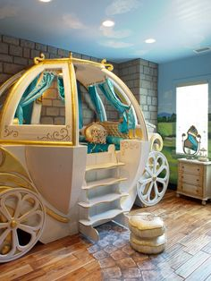 Kids bedroom, little girl pumpkin carriage bed Dream Rooms, Dream Bedroom, Girls Bedroom, Fantasy Bedroom, Bedroom Themes, Fairytale Bedroom, Childrens Bedroom, Nursery Themes, Bedroom Designs