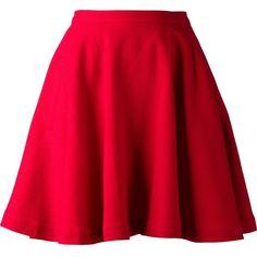 ELLE SASSON 'Ivone' skirt ($235) ❤ liked on Polyvore featuring skirts, mini skirts, bottoms, saias, faldas, red, short skirts, short wool skirt, wool skirts and wool mini skirt