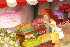 Illustrator Monique Dong The Flower Market #illustration #art #drawing…