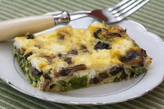 Mushroom, asparagus & goat cheese egg casserole. Made it for Easter and it was great. Sauteed the asparagus & mushrooms earlier in the day and prepped everything but the eggs. Just had to throw those in & bake. Was a hit with the crowd & cost effective & nutritious!
