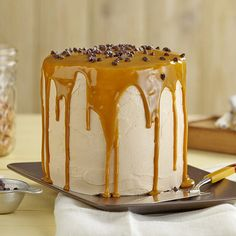 Moist cake, covered in butterscotch icing, dripping with a rich, butterscotch ganaché that will make your mouth water.