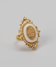 Gold Mother-of-Pearl Sailing Ship Ring