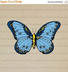 ON SALE 55% OFF Blue Butterfly  No.Kmf1309  by GraphicDreamz
