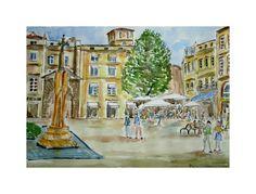 Aquarelle de la place Saint Projet de Bordeaux : Peintures par aquarelles-dupicard