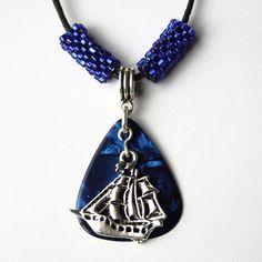 Blue Ship Guitar Pick Necklace  £3.50