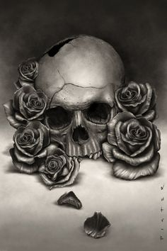 skull and flower tattoo designs | Skull and Roses by RodgerPister