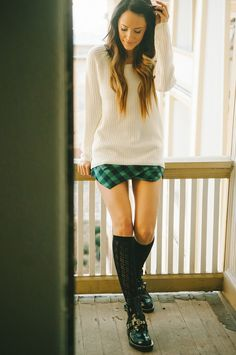 Asymmetric green Scotland plaid shorts, Buckle ankle boots, punk style for spring#Valentine's Day