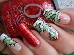 Bibulle Blog Nail Art: Nail art - Il ne saurait y avoir de Noël sans houx! Christmas Nail Art - Winter nail art