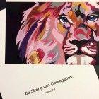 Pink Lion Art Print Card Be Strong and Courageous Hannah Erickson