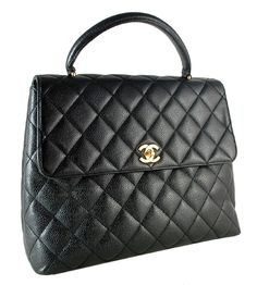 Chanel Black Quilted Caviar Leather Classic Jumbo Kelly Tote Bag