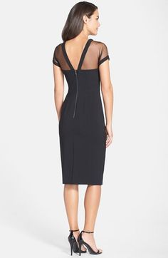 Free shipping and returns on Maggy London Illusion Yoke Crepe Sheath Dress (Regular & Petite) at Nordstrom.com. Sheer mesh is softly gathered to a V-back neckline for a vintage-inspired start to a lithe crepe sheath streamlined by pronounced vertical seams.