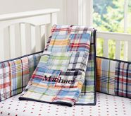 Madras design nursery bedding. Can we just address the gender neutrality of this? This isn't just for a boy's room!