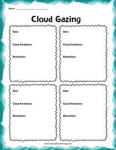 Clouds Activities for Kindergarten - Natural Beach Living Water Cycle Activities, Weather Activities For Kids, Kindergarten Activities, Family Activities, Pre Writing, Writing Practice, Weather Lessons, Reading Comprehension Skills, Nice Handwriting