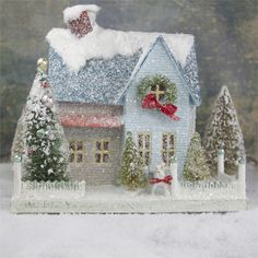 Blue Putz House with Dog | Glittered Christmas House with Scottish Terrier - The Holiday Barn