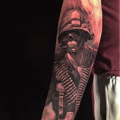 This ghostly skeletal soldier was tattooed by the very talented Edgar Martinez.