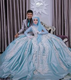 Hot New Muslim Blue Bride Wedding Dress Custom Size Muslim Wedding Gown, Muslimah Wedding Dress, Green Wedding Dresses, Bridal Dresses, Muslim Brides, Pakistani Bridal Wear, Bride Gowns, Foto Pose, Perfect Wedding Dress