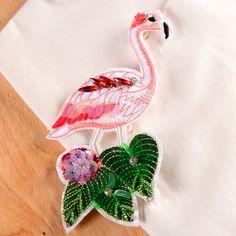 Flamingo pailletten patch patch vintage patch geborduurde