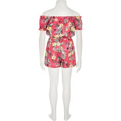 a266bdf3ad95 Girls pink tropical print playsuit